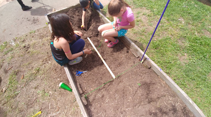 photo of students working in garden